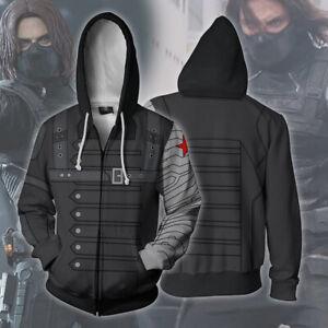 Marvel Bucky Barnes Hoodies 3D Print Sweatshirts Cosplay Hooded Jacket Coat