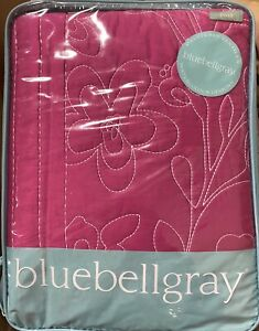 NEW BLUEBELLGRAY HOT PINK & WHITE EMBROIDERED FLORAL TWIN SIZE COVERLET