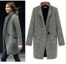 Cappotto invernale donna completo maniche ABBASSARE collare Jacket Coats chiusura delle tasche sul davanti