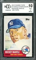 2010 Yankees Topps 27 World Championships #16 Mickey Mantle BGS BCCG 10 Mint