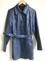 Vintage 1980s Leather Trench Coat Women SHALOM Boutique Madrid Button Down Belt