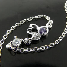 ANKLET GENUINE 925 STERLING SILVER S/F AMETHYST DIAMOND SIMULATED SWAN DESIGN