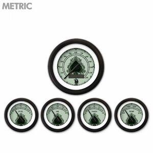 5 Gauge Set Speedo Water Oil Temp FuelVolt Spade Series Black LED 043-BC Metric