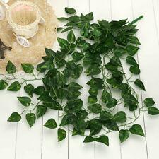 Artificial Hanging Plants Fake Flowers Leaves Long Green Silk Ivy Vine Garlan US