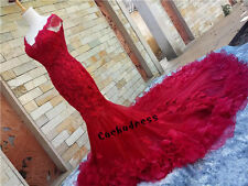 Red Cathedral Train Lace Appliques Wedding Dress Mermaid Cap Sleeve Bridal Gown