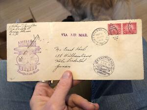 Rare Postal Postal Cover Hindenburg Zeppelin 1936 Chicago USA to Germany