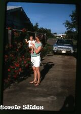 1960s Kodachrome photo slide Dodge Car automobile  in driveway  Texas plate