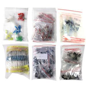 1390pcs Elektroteile Set Basic Elektronik Transistoren Auswahl LED-Dioden Kits