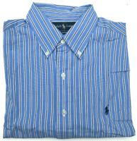 Mens Ralph Lauren Shirt Classic Fit L/S Striped Blue Size 16.5 Large