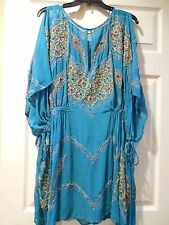 NWT Free People Kaleidoscope Embellished Mini Dress Turquoise SZ L $298 Stunning