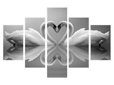"""Love Heart Swans Black And White 5 Split Panel Canvas Picture Overall = 40x60/"""""""