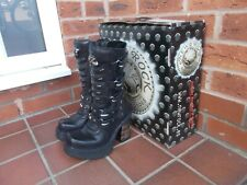 NEW ROCK REACTOR Black Leather Platform Boots * 3 uk * GOTH * PUNK * BNIB
