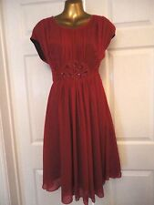 Beautiful Boden Magenta Hot Pink Jewelled Georgette Dress UK 10 R