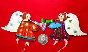 Christmas Tree Decoration Russian Doll 2 Angel set hand painted ornament Ryabova