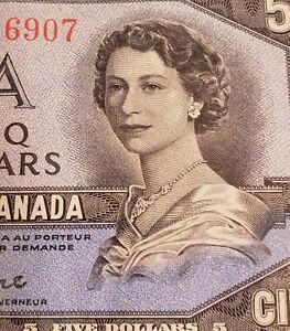1954 Canada $5. DEVIL FACE Banknote. Beattie & Coyne Signed.