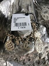 NWT CHANEL 2016 2015 Gold Coin Quilted Medallion CC Charm Classic Bracelet Jewel
