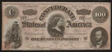 CIVIL WAR CONFEDERATE STATES OF AMERICA 100 DOLLARS RICHMOND BANKNOTE 1864