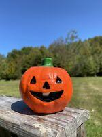 Vintage Wax Pumpkin Jack-O-Lantern Halloween Candle