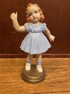 "Antique Early 1900s Ceramic Blue Doll Art Deco 7.5"" German"