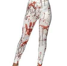 Femmes Déguisement Halloween Horreur Legging avec Sang Taches Neuf par Smiffy