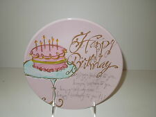 """NWOT Handpainted Pink/Lilac/Turquoise Happy Birthday Ceramic Plate 8.25"""""""