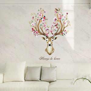 Beautiful Removable Wall Sticker Living Room Brave Watercolour Elk Deer Flower