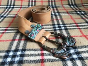 Diesel Tan Leather Belt Native Pattern Made in Italy