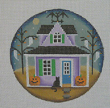 Handpainted Needlepoint Canvas Rebecca Wood Halloween Cottage Ornament 1032-J