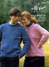 EMU 4864 sa/Hers chunky sweater VINTAGE KNITTING PATTERN 32-44ins