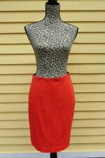 NEW ANN TAYLOR Rayon Nylon Fitted Pencil Skirt Scarlet Red Stretch 4