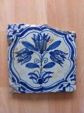 Carreau Delft 18 eme siecle aux fleurs