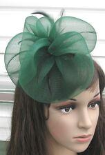 dark green fascinator millinery feather brooch clip wedding hair piece ascot