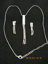 Silvertone Snake Fringe Necklace & Earrings..2003..sold by AVON.....#196
