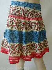 BNWT NEW Ladies Cream/Red/Blue Print 100% Cotton Short Mini Skirt UK 8 EU 36