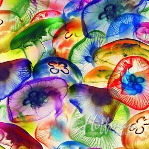Hoffman Raving Tides Rainbow Jellyfish Digital Print Cotton Fabric P4384-130-Mul