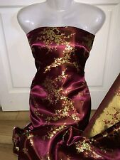 "1M Maroon   Dress floral Chinese  Fabric Shiny Silky, Brocade  material 45""wide"