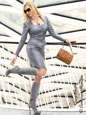 Lederkostüm Leder Set Rock + Top Stahlgrau Maßanfertigung