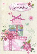 ISABELS GARDEN,DAUGHTER BIRTHDAY CARD,3D,HANDMADE,RIBBON,TOP QUALITY,PINK, (Q1
