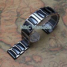 Black 22mm Ceramic+ Stainless Steel Watch Band Watch Strap For Samsung Gear S3
