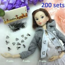 1/6 BJD Doll Dress DIY Crafts Mini Hook & Eye Closing Black (200 Sets) NDA036SXB