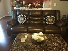 New ! Living Room 5 piece set, 2 leather reclining sofas and 3 tables.