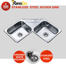 1100*600*180 mm Corner Stainless Steel Kitchen Sink Double Bowl