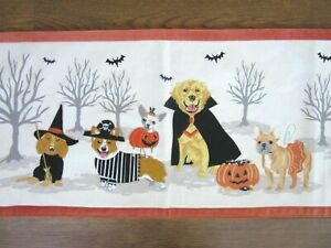 """EMBROIDERED APPLIQUE Dogs Animals HALLOWEEN FALL TABLE RUNNER 14"""" x 48"""" ~ NEW"""