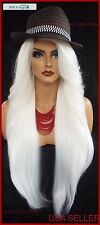 """25"""" LONG LACE FRONT DEEP CPART HIGH HEAT SAFE WIG COLOR WHITE  SEXY 1095 NEW"""