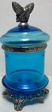 Vintage Blue Glass Bottle with lid silver tone trim