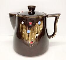 Vintage Tilso Japan Redware Teapot-Shape Sugar Bowl w/Lid Brown Drip Raised Dot