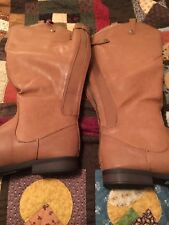Labe Bryant Cognac Brown Faux Leather Wide Calf Boots New Size 9 Women