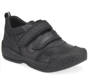 Start-rite Strike Boys School Shoes in Black with Bumper Toe Protection ( F fit)