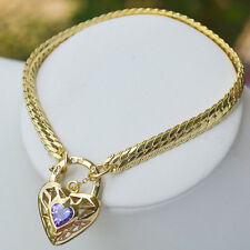 9K Yellow Gold Filled Bracelet Thick Euro Chain & Sparkly Stone Heart Locket
