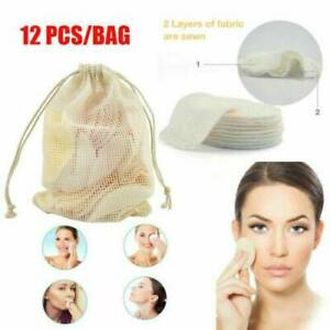 12X Reusable Facial Cleansing Pad Bamboo Cotton Makeup Remover Pad Face Wipes-AU